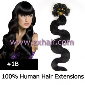 "Wholesale 100S 20"" Nail tip hair remy wave  Human Hair Extensions #1B"