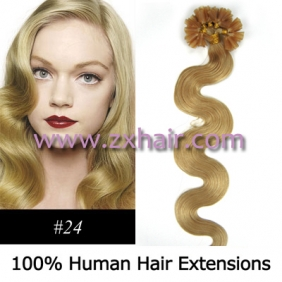 "Wholesale 100S 20"" Nail tip hair remy wave  Human Hair Extensions #24"