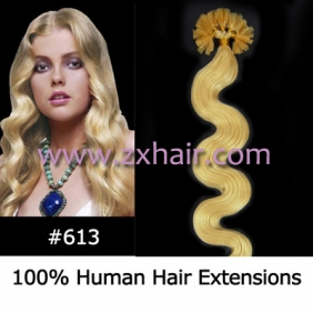 "Wholesale 100S 20"" Nail tip hair remy wave  Human Hair Extensions #613"