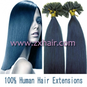 "Wholesale 100S 18"" Nail tip hair remy Human Hair Extensions #blue"