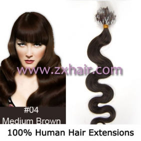 "Wholesale 100S 20"" remy Micro rings hair Wave human hair extensions #04"