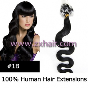 "Wholesale 100S 20"" remy Micro rings hair Wave human hair extensions #1B"