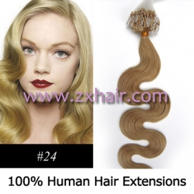 "Wholesale 100S 20"" remy Micro rings hair Wave human hair extensions #24"