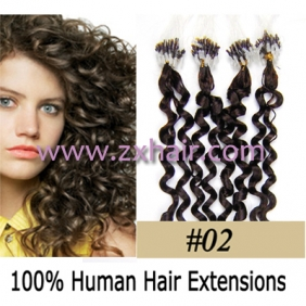 "Wholesale 100S 20"" remy Micro rings hair Curly human hair extensions #02"