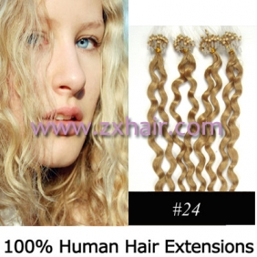 "Wholesale 100S 20"" remy Micro rings hair Curly human hair extensions #24"