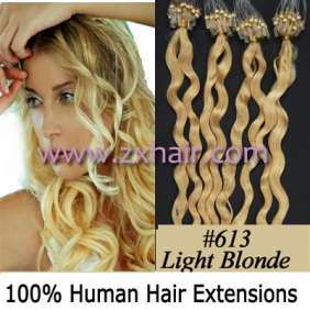 "Wholesale 100S 20"" remy Micro rings hair Curly human hair extensions #613"