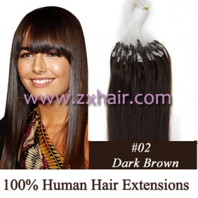 "Wholesale 100S 16"" Micro rings/loop hair remy human hair extensions #02"