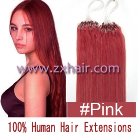 "Wholesale 100S 18"" Micro rings/loop hair remy human hair extensions #pink"