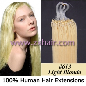 "Wholesale 100S 24"" Micro rings/loop hair remy human hair extensions #613"