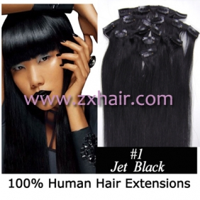 "Wholesale 15"" 7pcs set Clip-in hair remy Human Hair Extensions #01"
