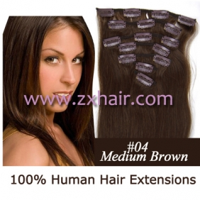 "Wholesale 15"" 7pcs set Clip-in hair remy Human Hair Extensions #04"