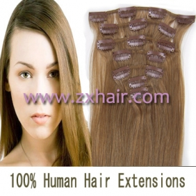 "Wholesale 15"" 7pcs set Clip-in hair remy Human Hair Extensions #12"