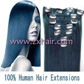 "Wholesale 15"" 7pcs set Clip-in hair remy Human Hair Extensions #blue"