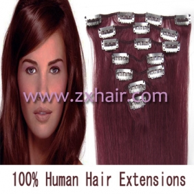 "Wholesale 15"" 7pcs set Clip-in hair remy Human Hair Extensions #bug"