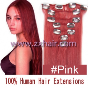 "Wholesale 15"" 7pcs set Clip-in hair remy Human Hair Extensions #pink"