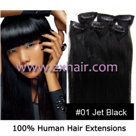"Wholesale 18"" 7pcs set Clips-in hair 70g remy Human Hair Extensions #01"