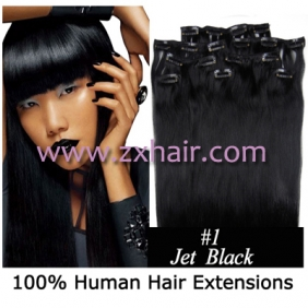 "Wholesale 20"" 8pcs set Clip-in hair remy Human Hair Extensions #01"