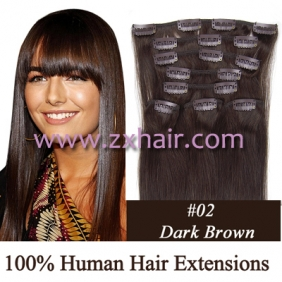 "Wholesale 20"" 8pcs set Clip-in hair remy Human Hair Extensions #02"