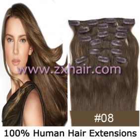 "Wholesale 20"" 8pcs set Clip-in hair remy Human Hair Extensions #08"