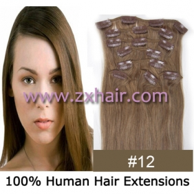 "Wholesale 20"" 8pcs set Clip-in hair remy Human Hair Extensions #12"