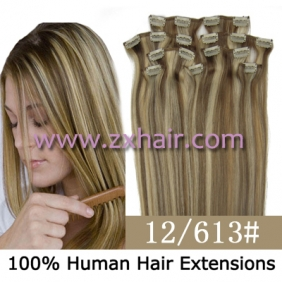 "Wholesale 20"" 8pcs set Clip-in hair remy Human Hair Extensions #12/613"