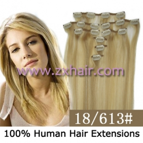"Wholesale 20"" 8pcs set Clip-in hair remy Human Hair Extensions #18/613"