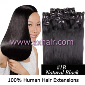 "Wholesale 20"" 8pcs set Clip-in hair remy Human Hair Extensions #1B"