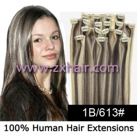 "Wholesale 20"" 8pcs set Clip-in hair remy Human Hair Extensions #1B/613"