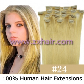 "Wholesale 20"" 8pcs set Clip-in hair remy Human Hair Extensions #24"