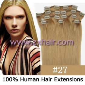 "Wholesale 20"" 8pcs set Clip-in hair remy Human Hair Extensions #27"