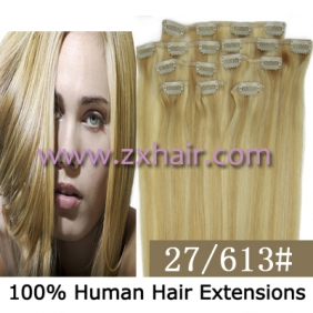 "Wholesale 20"" 8pcs set Clip-in hair remy Human Hair Extensions #27/613"