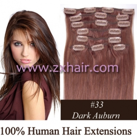 "Wholesale 20"" 8pcs set Clip-in hair remy Human Hair Extensions #33"