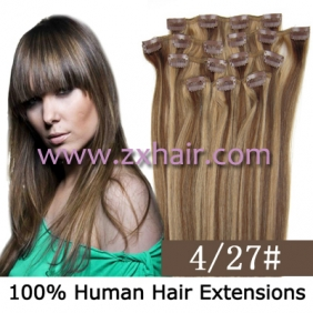 "Wholesale 20"" 8pcs set Clip-in hair remy Human Hair Extensions #4/27"