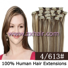 "Wholesale 20"" 8pcs set Clip-in hair remy Human Hair Extensions #4/613"