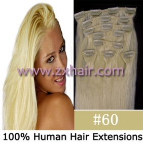 "Wholesale 20"" 8pcs set Clip-in hair remy Human Hair Extensions #60"
