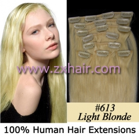 "Wholesale 20"" 8pcs set Clip-in hair remy Human Hair Extensions #613"