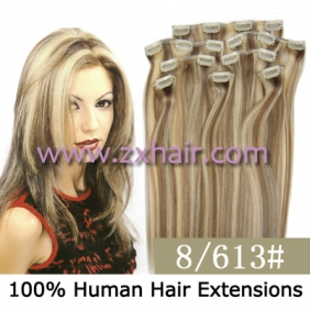 "Wholesale 20"" 8pcs set Clip-in hair remy Human Hair Extensions #8/613"