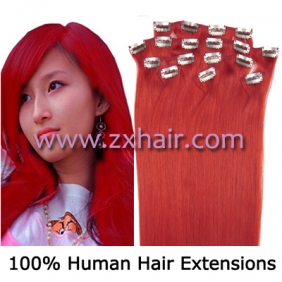 "Wholesale 20"" 8pcs set Clip-in hair remy Human Hair Extensions #red"