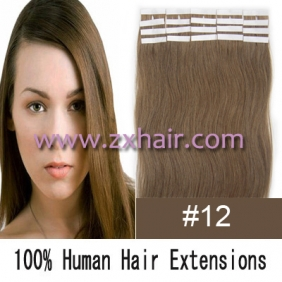"Wholesale 24"" 70g Tape Human Hair Extensions #12"