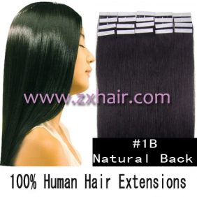 "Wholesale 24"" 70g Tape Human Hair Extensions #1B"