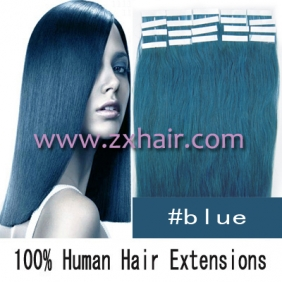 "Wholesale 24"" 70g Tape Human Hair Extensions #blue"