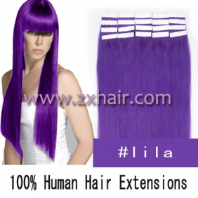 "Wholesale 24"" 70g Tape Human Hair Extensions #lila"