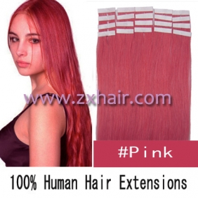 "Wholesale 24"" 70g Tape Human Hair Extensions #pink"