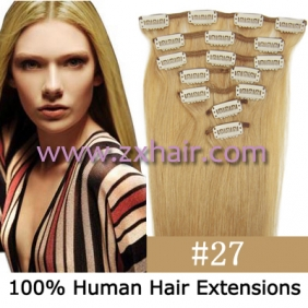 "Wholesale 18"" 7pcs set Clips-in hair 70g remy Human Hair Extensions #27"