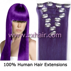 "Wholesale 22"" 7pcs set Clips-in hair 80g remy Human Hair Extensions #lila"