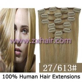 "Wholesale 22"" 7pcs set Clips-in hair 80g remy Human Hair Extensions #27/613"