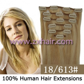 "Wholesale 22"" 7pcs set Clips-in hair 80g remy Human Hair Extensions #18/613"