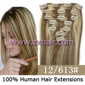 "Wholesale 22"" 7pcs set Clips-in hair 80g remy Human Hair Extensions #12/613"