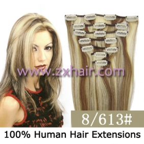 "Wholesale 22"" 7pcs set Clips-in hair 80g remy Human Hair Extensions #8/613"