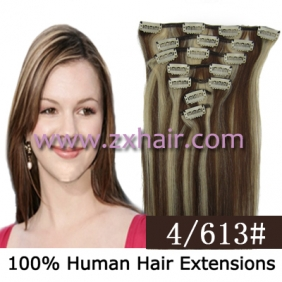 "Wholesale 22"" 7pcs set Clips-in hair 80g remy Human Hair Extensions #4/613"